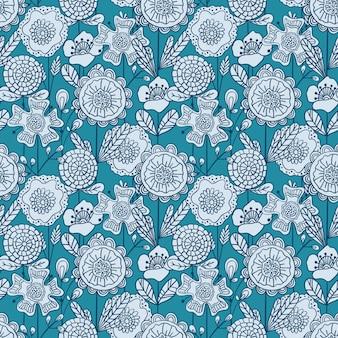 Wektorowy bezszwowy kolorowy kwiecisty wzór. ręcznie rysowane doodle kwiaty wzór