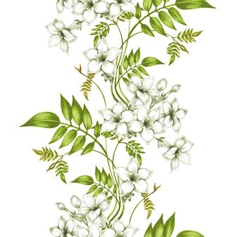 Wektorowy bezszwowy kwiecisty wzór z jaśminowymi kwiatami.