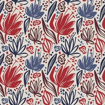Wektorowy bezszwowy kwiecisty wzór z minimalistycznymi kwiatami na lekkim tle.