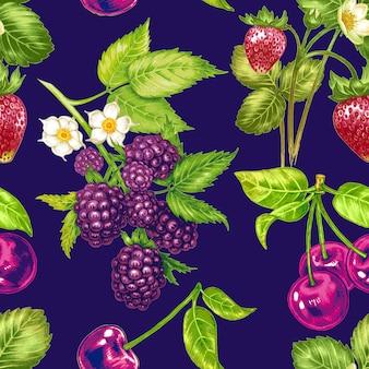 Wektorowy bezszwowy kwiecisty wzór z owoc i jagodami.