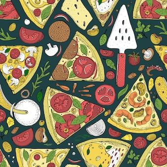 Wektorowy bezszwowy pizza plasterka wzór. ręcznie rysowane pizzy ilustracja. świetne do pizzerii lub tła.
