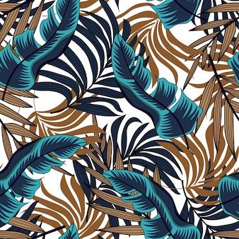 Wektorowy bezszwowy tło projekt w tropikalnym stylu. egzotyczny hawajski. letni nadruk.
