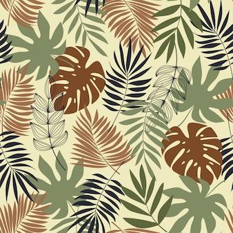 Wektorowy bezszwowy tropikalny wzór z roślinami. projektowanie, drukowanie