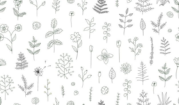 Wektorowy bezszwowy wzór czarny i biały kwiaty, ziele, rośliny. monochromatyczna paczka elementów zapewniająca naturalny design. styl kreskówkowy.