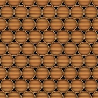 Wektorowy bezszwowy wzór drewniane baryłki