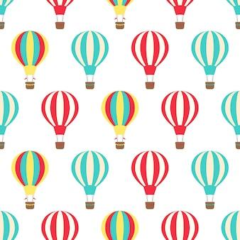 Wektorowy bezszwowy wzór gorące powietrze balony