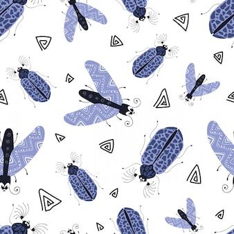 Wektorowy bezszwowy wzór - kreskówki pluskwa lub chrząszcz, mieszkanie