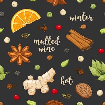 Wektorowy bezszwowy wzór na zmroku z grzanym winem