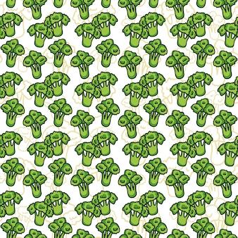 Wektorowy bezszwowy wzór nakreślenie brokuły