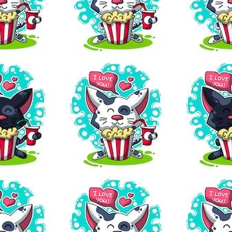 Wektorowy bezszwowy wzór o kotach w miłości