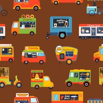 Wektorowy bezszwowy wzór transport. samochody kreskówki