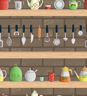 Wektorowy bezszwowy wzór z barwionymi kuchennymi narzędziami na półkach