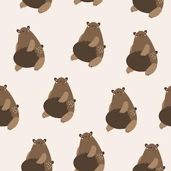 Wektorowy bezszwowy wzór z brown niedźwiedziami. skandynawski styl