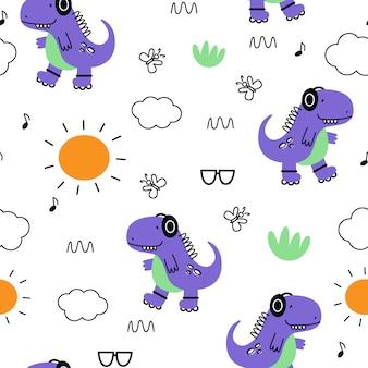 Wektorowy bezszwowy wzór z dinosaurami. styl kreskówki. nadruk dla dzieci