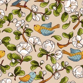 Wektorowy bezszwowy wzór z jabłczanym okwitnięciem i ptakami. piękna ręka rysująca tekstura.