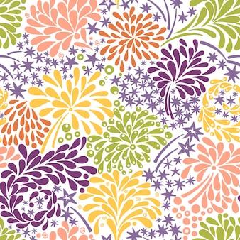 Wektorowy bezszwowy wzór z kolorowymi fajerwerkami. abstrakcyjne tło