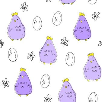 Wektorowy bezszwowy wzór z kurczakiem i jajkami