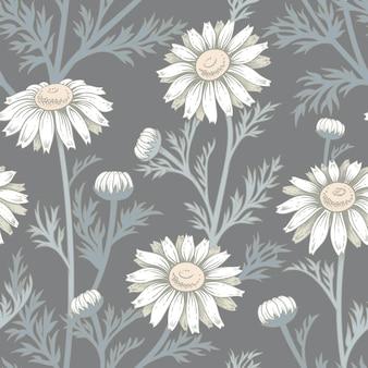 Wektorowy bezszwowy wzór z kwiatami rumianek.