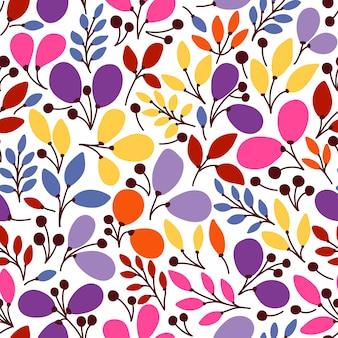 Wektorowy bezszwowy wzór z liśćmi. może być stosowany jako tapeta na pulpit lub rama do zawieszenia na ścianie lub plakatu, do wypełniania wzorów, tekstur powierzchni, tła stron internetowych, tekstyliów i innych.