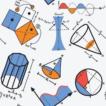 Wektorowy bezszwowy wzór z mathematics dla szkoły