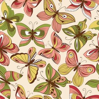 Wektorowy bezszwowy wzór z motylami