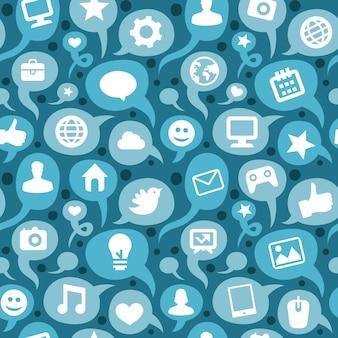 Wektorowy bezszwowy wzór z ogólnospołecznymi medialnymi ikonami