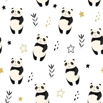 Wektorowy bezszwowy wzór z pandami