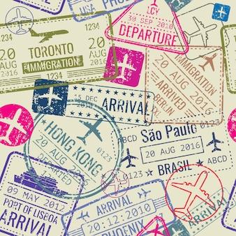 Wektorowy bezszwowy wzór z paszportowymi wiza znaczkami