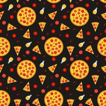 Wektorowy bezszwowy wzór z pizzą. do tkanin, papieru do pakowania, kart i ilustracji internetowych.