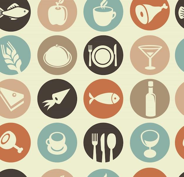 Wektorowy bezszwowy wzór z restauracyjnymi i karmowymi elementami