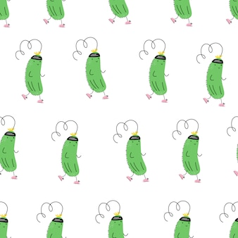 Wektorowy bezszwowy wzór z sporta ogórkiem. jogging. emoji