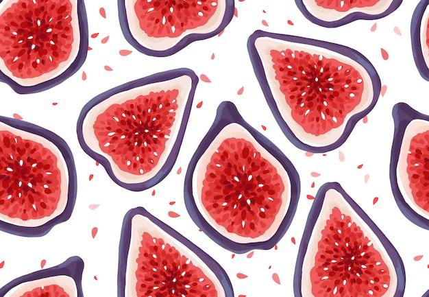 Wektorowy bezszwowy wzór z świeżymi figami. owoce egzotyczne