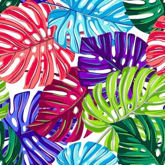 Wektorowy bezszwowy wzór z tropikalnymi liśćmi. monstera pozostawia tekstury kolorów fantasy.