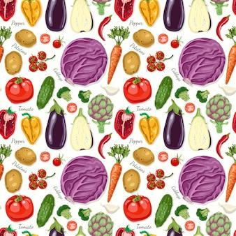 Wektorowy bezszwowy wzór z warzywami