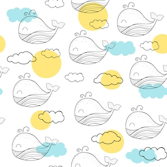 Wektorowy bezszwowy wzór z wielorybami.