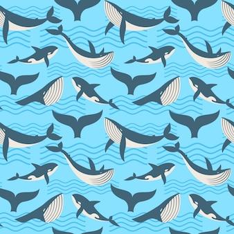 Wektorowy bezszwowy wzór z wielorybem w ocean fala