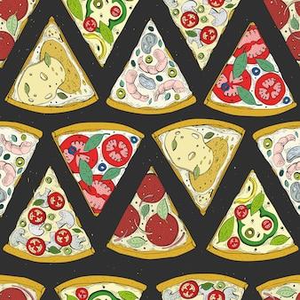Wektorowy bezszwowy wzór z włoskiej pizzy odgórnym widokiem