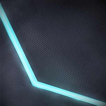 Wektorowy ciemny tło z błękitnym neonowym światłem