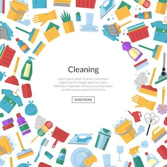 Wektorowy cleaning mieszkania ramy tło z teksta szablonem