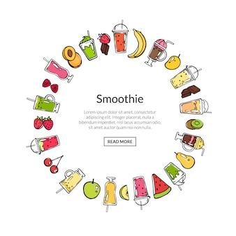 Wektorowy doodle smoothie w okręgu sztandaru kształta ilustraci