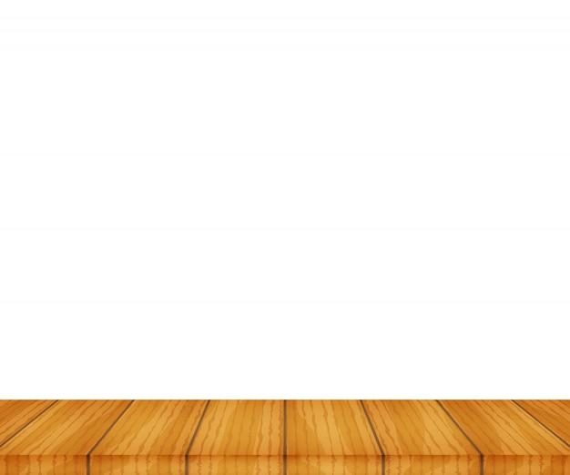 Wektorowy drewniany stołowy wierzchołek na białym tle