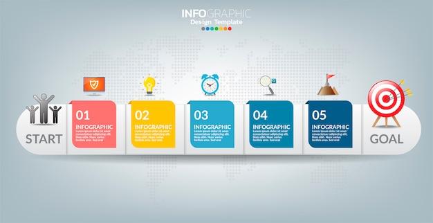 Wektorowy infographic etykietka szablon z ikonami i 5 opcjami lub krokami.