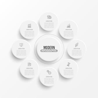 Wektorowy infographic szablon z 3d papierową etykietką