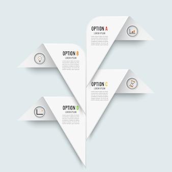 Wektorowy infographic szablon z 3d papierową etykietką.