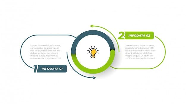 Wektorowy infographic szablon z okręgiem i cienka kreskowa etykietka z numerowym elementem.