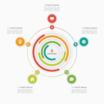 Wektorowy infographic szablon z zintegrowanymi okręgami