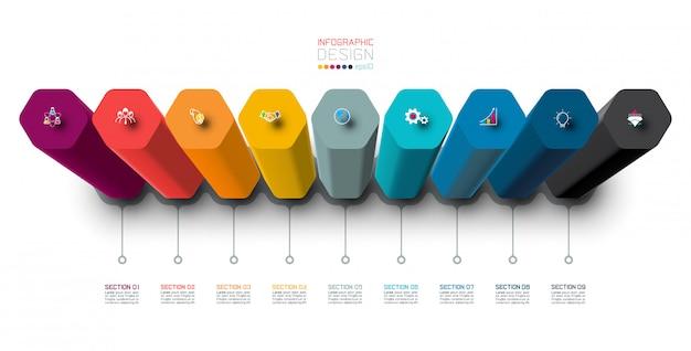 Wektorowy infographic szablonu projekt z sześciokąt kolumnami projektuje.