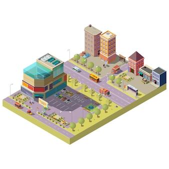 Wektorowy isometric centrum miasta z zakupy centrum handlowym