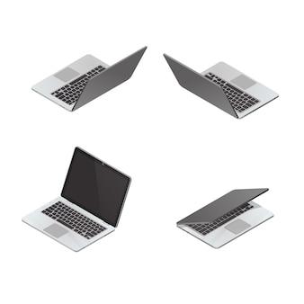 Wektorowy isometric laptop odizolowywający na bielu