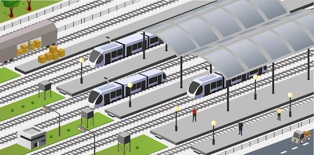 Wektorowy isometric widok stacja miasta